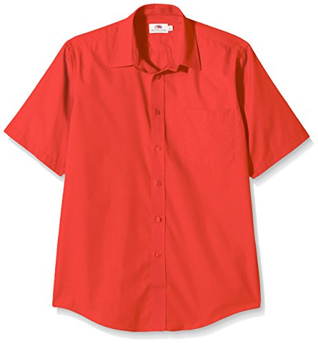 fruit-of-the-loom-poplin-chemise-casual-homme-red-l