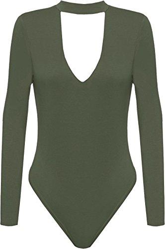 The Celebrity Fashion -  Body  - Donna Khaki - Girls Bodysuit Party Night Out Clubwear