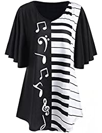 6825a7a6178 Bluestercool Chemisier Femme Notes Musicales Imprimé Tops Casual Lâche T- Shirt à Manches Courtes