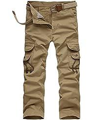 GITVIENAR Salopette Jean pour Homme Pantalon en Vrac Multi-Poches Pantalon Décontracté en plein air pour Camping Pêche Cyclisme Activités Exterieurs