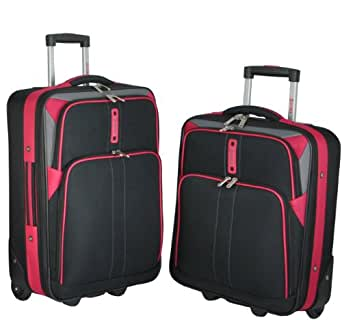 """5 Cities Lightweight Cabin Approved Hard Wearing and Light Weight Expandable Trolley Wheeled Luggage Bag (18 inch & 21 inch) (2 piece set - 18""""/21"""", Black/Red)"""