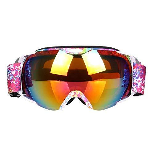 rebirthesame Skibrille, kugelförmige doppelschichtige Anti-Fog-Skibrillenmaske, UV-Schutz-Wind- und Winddichte Kletterbrillenmaske