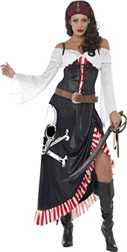 amen Pirate Fancy Kleid weiblich Schwül Mantel- und-Degen Kostüm schwarz & weiß ()