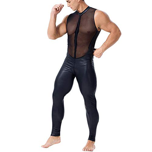 NIERJIU Adult Fun Stage Performance Tights Sexy Men's Patent Leather Mesh  Stitching Jumpsuit Role Play,Black,M
