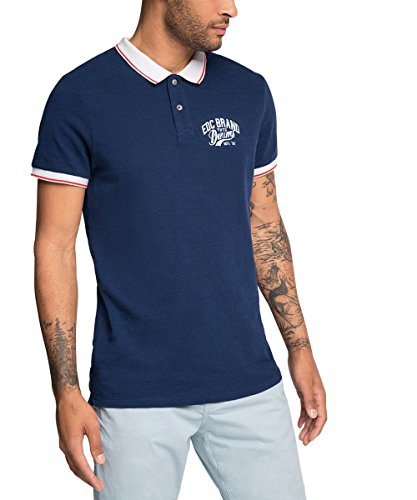 edc by ESPRIT 046CC2K023-Chest Logo-Slim Fit, Polo Uomo, Blu (Nave 400), Large