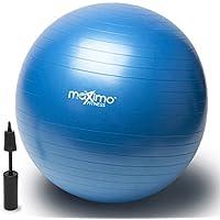 Ballon De Gym 55cm avec Pompe - Qualité Supérieure - Parfait pour l'Entrainement Visant la Stabilité, l'Entraînement de Noyau, l'Equilibre de Corps, le Pilates, CrossFit - Matériau PVC Antidérapant.