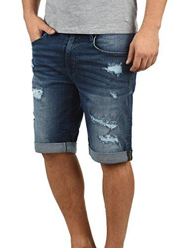 Blend Deniz Herren Jeans Shorts Kurze Denim Hose Mit Destroyed-Optik Aus Stretch-Material Regular Fit, Größe:M, Farbe:Denim Darkblue (76207) (Blend Denim)