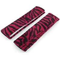 sourcingmap® 2 Pcs Vehicle Auto Black Red Zebra Print Safety Seat Belt Cover Shoulder Pads