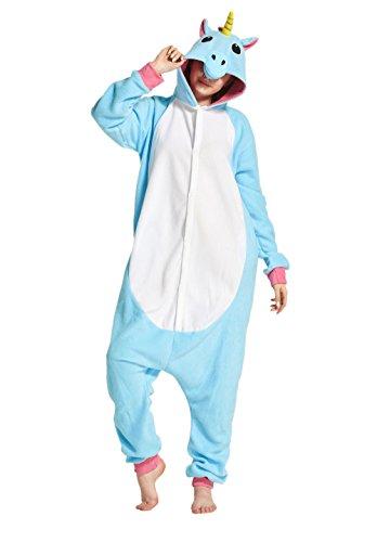 Hstyle Unisex Adulto Onesie Anime Kigurumi Trajes Disfraz Cosplay Animales Pijamas Pyjamas Ropa De Dormir, Nueva Unicornio Azul, M (Altura: 155CM-170CM)