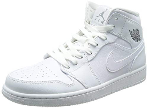 Nike  Air Jordan 1 Mid, Baskets pour homme Schwarz Blanc (White / Cool Grey-White)