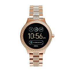Fossil Damen Smartwatch Q Venture 3. Generation - Edelstahl - Roségold | Stylische Uhr Mit Smartfunktionen & Verziert Mit Glitzersteinen | Für Android & Ios