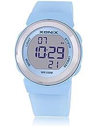 Reloj electrónico digital de múltiples funciones de los ni?os,Jalea 100 m led resina resistente al agua correa alarma cronómetro chicas o chicos lindos moda reloj de pulsera-F