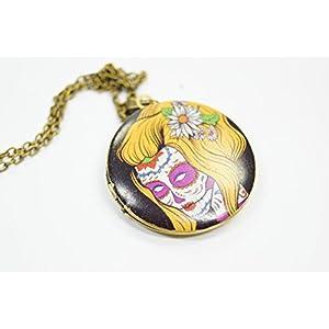 Halskette Kette mit Anhänger Medaillon Medaillonkette Totenkopf Sugar Gothic Halloween