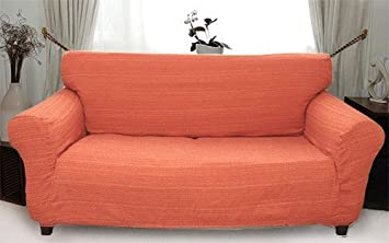 Stretch Elastic Cover orange for a pair of sofa sitting cushions