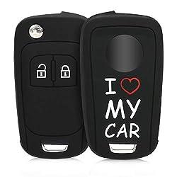 kwmobile Autoschlüssel Hülle für Opel - Silikon Schutzhülle Schlüsselhülle Cover für Opel Chevrolet 2-Tasten Klapp Autoschlüssel I Love My car Design Weiß Rot Schwarz
