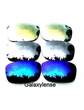 Galaxy lentes de repuesto para Oakley Fives Squared azul y titanio y oro Color Polarizados 3 Pares