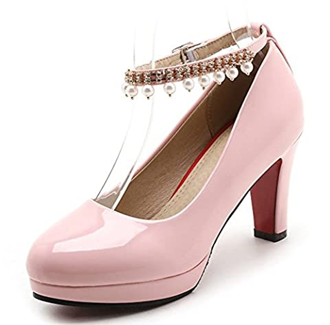 Aisun Women's Elegant Pearls Ankle Strap High Chunky Heels Court Shoes (Pink, 7.5 UK)