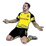 Wandsticker BVB Comic Spieler Paco Alcácer Borussia Dortmund Bundesliga Fußball Sport Verein Tricot Illustration Stürmer Wall-Art - Größe