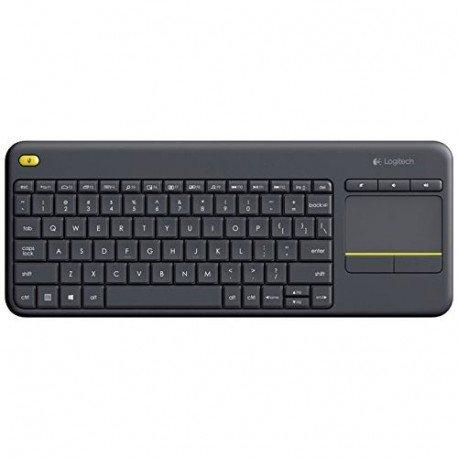 Logitech K400 Plus Clavier sans-fil AZERTY pour PC de Salon, Media center et HTPC Gris Foncé