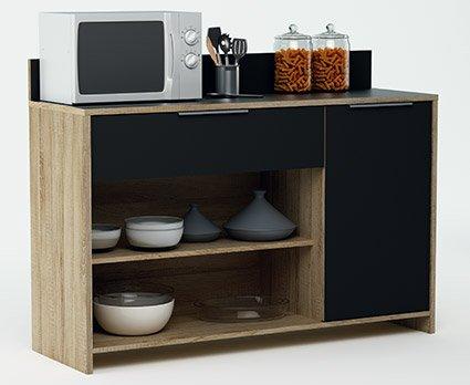 Mueble auxiliar para microondas o aparador color roble y negro 123x85cm