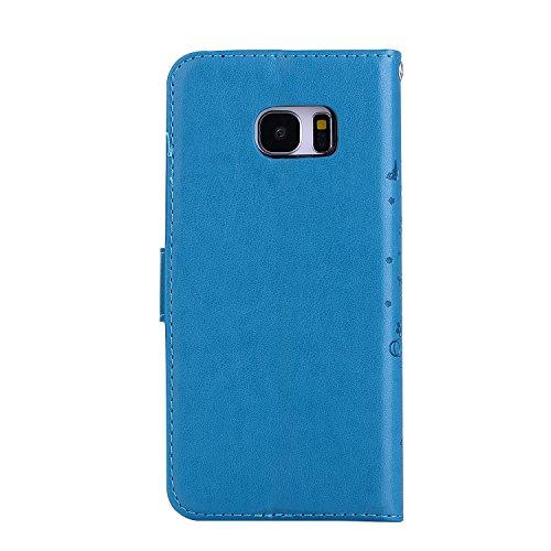 Custodia Galaxy S7 Edge, ISAKEN Cover per Samsung Galaxy S7 Edge, Galaxy S7 Edge Flip Cover con Strap, Elegante 2 in 1 Custodia in Sintetica Ecopelle Sbalzato PU Pelle Protettiva Portafoglio Case Cove Ragazza: blu