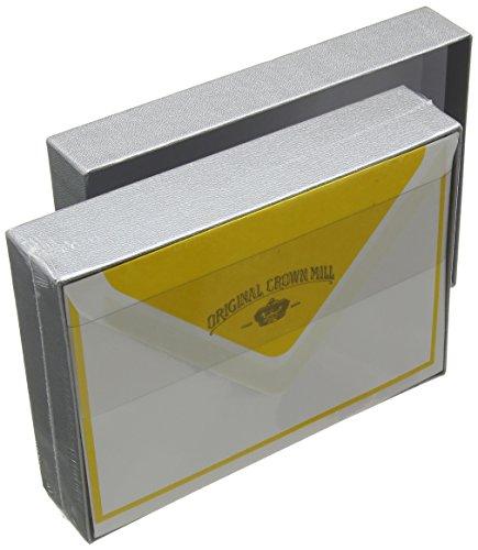 original-crown-mill-silver-line-105-x-155-cm-karten-bi-color-briefpapier-set-inkl-umschlage-c6-gelb-