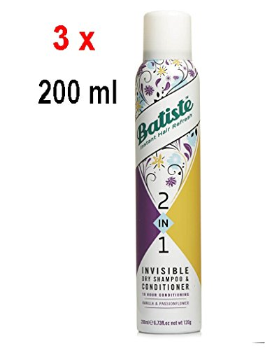 3 x Batiste 2in1 Trockenshampoo & Conditioner - Vanille & Pasion Blume - 200 ml