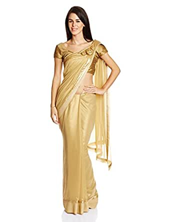TRIBE Women's Saree With Pre Pleated Pallu and Semi Stitched Blouse (SR-0016_GOLD_XL)