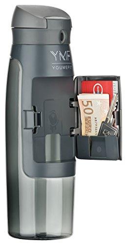 Wasserflasche Sport mit Fach für Geld, Schlüssel / Trinkflasche BPA frei - auslaufsicher / praktische Sportflasche für Training, Gym, Schule, Freizeit und Outdoor / Fitness Flasche – 750ml (grau)