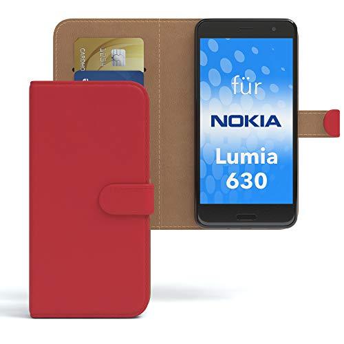 EAZY CASE Hülle für Nokia Lumia 630 Dual SIM Bookstyle mit Standfunktion, Book-Style Case aufklappbar, Schutzhülle, Flipcase, Flipstyle, Flipcover mit 2 Kartenfächern aus Kunstleder, Rot