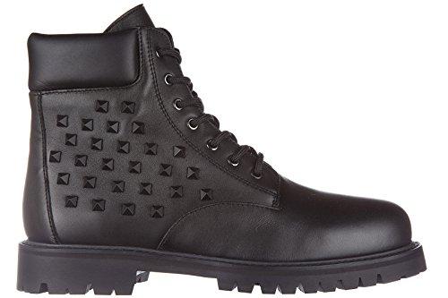 Valentino bottines demi-bottes homme en cuir combat rockstud noir Noir