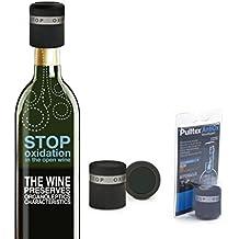Pulltex - Set n ° 3 antioxidante de tapón del vino - casquillo antioxidante para botellas de vino - Color Negro - Blíster