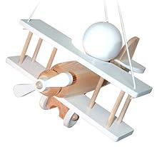 Waldi Leuchten lampadario a sospensione a forma di aereo piccolo, beige/Bianco WAL-90112.0 , legno
