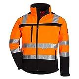 Nitras Motion TEX VIZ - Wasserdichte Warnschutz-Softshelljacke für Damen & Herren - Arbeitsjacke mit Windstopper - Schutzjacke mit Reflexstreifen - Orange/Schwarz - Größe XXL