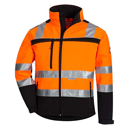 Nitras Motion TEX VIZ Warnschutz Softshell-Jacke I Arbeitsjacke mit 3M Reflex-Streifen I Windbreaker Wasserabweisend & Windabweisend I Orange Größe L