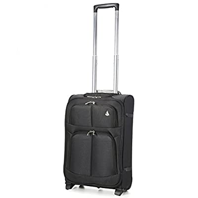 Aerolite 55x35x20 Super Lightweight 2 Wheel 34L Upright Carry On Hand Cabin Luggage Suitcase - Approved for Ryanair, Easyjet, British Airways, Virgin Atlantic