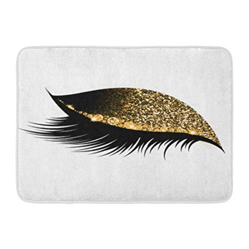Uosliks Benutzerdefinierte Fußmatten Schlaf Make-up Augen Wimpern White Left Home Fußmatten 15,7