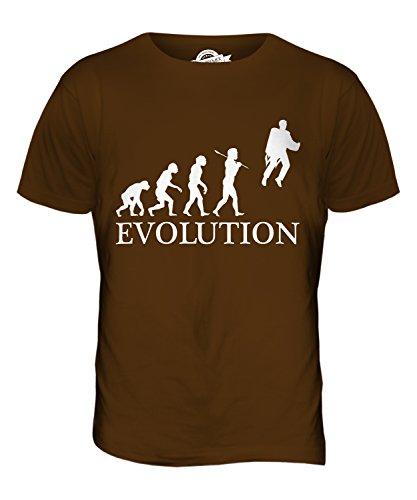 CandyMix Raketenrucksack Jetpack Evolution Des Menschen Herren T Shirt Braun