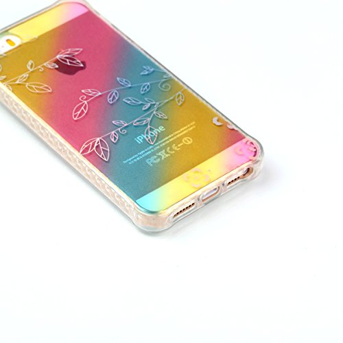 Custodia iPhone 5S Cover iPhone SE,Ukayfe Ultra Slim Custodia Cover Resistenti per iPhone 5S,Colorato Placcatura Disegni Bella Vintage Elegante Casa Coperture Sottile Morbida Soft TPU Silicone Gomma G Filiali