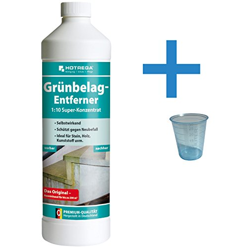 Reinigungsladen Hotrega Grünbelagentferner Konzentrat 1 Liter + Messbecher - Grünbelagsentferner Algen Moos Grünbelag Entferner