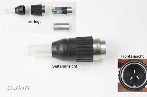 3 poliger Tuchel Stecker für WIG TIG Schlauchpaket Steuerstecker männlich , 3 poliger Tuchel Stecker