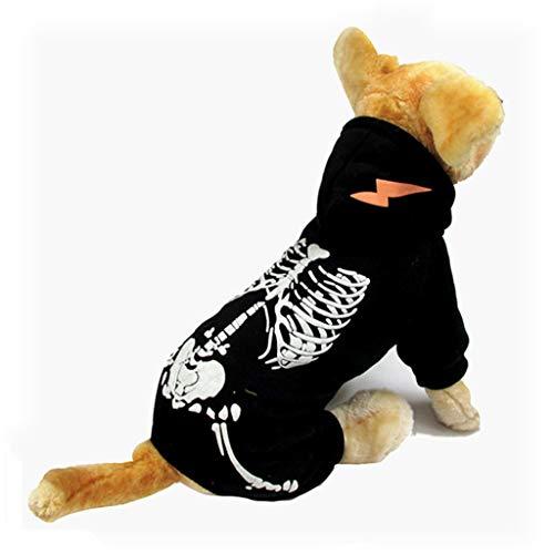 QIjinlook Hund Kleidung, Haustier Hundepullover, Halloween Schädel Klassische Haustier Hundekleid, Hund Sweatshirt für Hund Katze eine Größe Halloween Kostüm Hundekürbis Katzen (S, Schwarz)