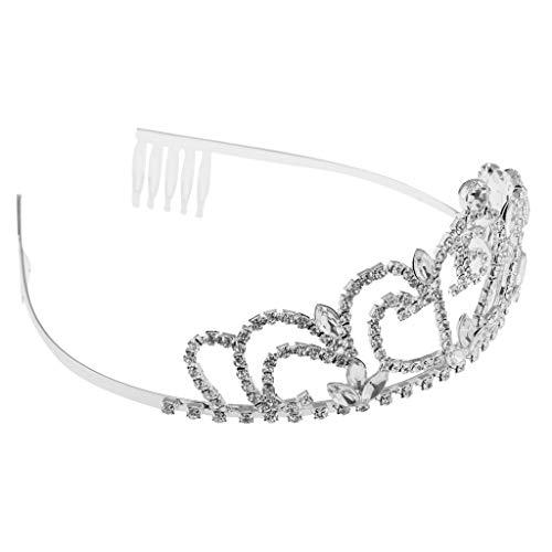 D DOLITY Elegante Krone Diadem Tiara Haarschmuck mit Strass Design für Geburtstag Jahrestag und Bankett - Alter 16 - Elegante Kronen