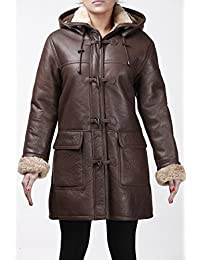 Infinity Warm Brown Long Winter Hooded Real Shearling Sheepskin Women's Leather Duffle Coat Custom Fit