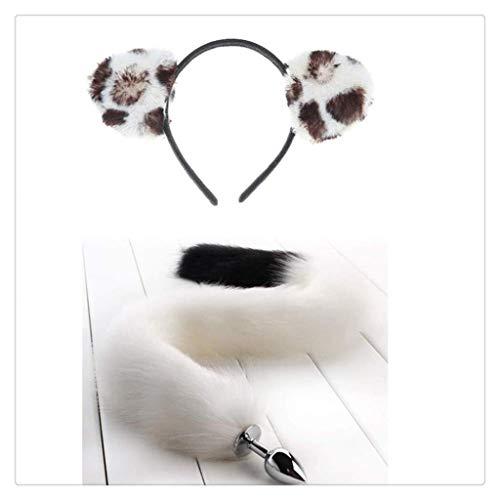 WM-EILIAN Weiche Leopard Katze Ohr Kopf (schwarz und weiß) Fuchsschwanz Halloween Weihnachten Cosplay Kostüm