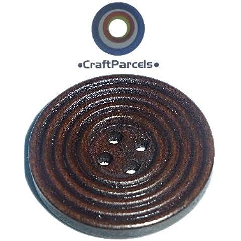12 paquetes de artesanía 30 mm/estriada acanalada 4 del agujero de la capa de madera/chaqueta botones
