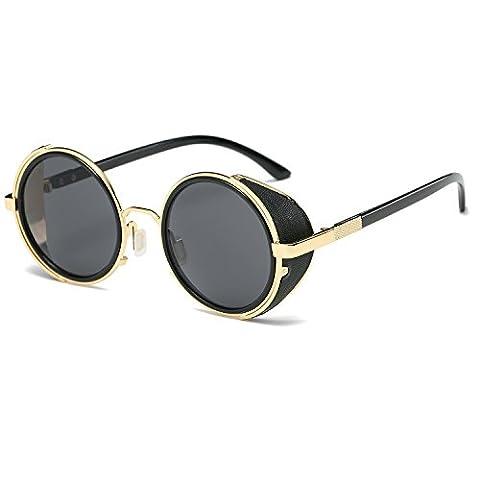 Hot Popular Goggles Vintage Retro Steampunk Sunglasses 50s Round Glasses (Hip Hop Mode Sonnenbrillen)