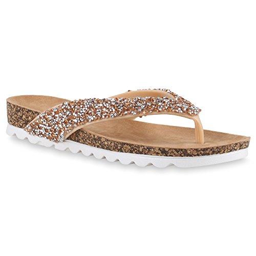 Bequeme Damen Sandalen Zehentrenner Glitzer Metallic Komfort-Sandalen Kork Bequem Strand Schnallen Schuhe 141221 Rose Gold 36 Flandell