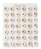 XXL Donut-Wand Weiß & Gold zum Aufstellen für 42 Mini-Donuts - Back-Zubehör / Präsentation Gebäck / Backen / Kuchen-Buffet / Candy-Bar Zubehör / Kinder-Geburtstag-s-Deko-Ration