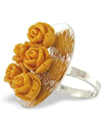 Aastha Jain Red Roses Sterling Silver Ring for Women